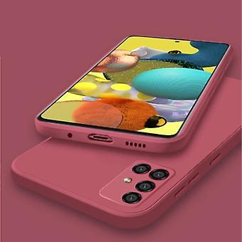 My choice Samsung Galaxy S10E Square Silicone Case - Soft Matte Case Liquid Cover Red