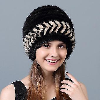 Black+Beige Women Winter Warm Bomber Hat Mink Fur Braided Hat, Size:Adjustable