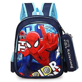Spider-man Backpack With Nylon, School Backpack, Cartoon Schoolbag With Detachable Matching Pencil Case (blue1)