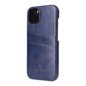For iPhone 13 mini tilfelle Deluxe lær lommebok tilbake shell slank deksel blå