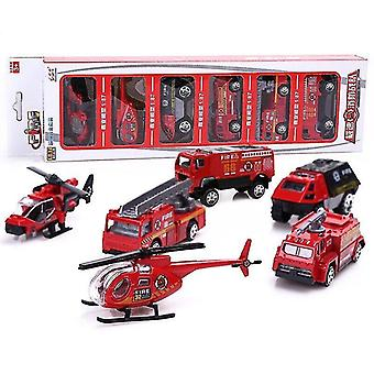Toy cars 6 sets of special police fire truck die casting toys 1:87 rescue model children's educational red