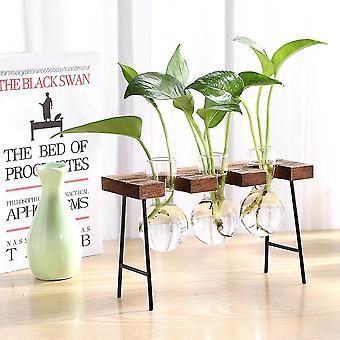 Nordisk stil miljövänligt glas och trävasplanterare terrarium(L)
