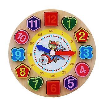 Montessori sarjakuva eläin koulutus puinen helmillä geometria kello palapelit lapsille 5+(Tiger