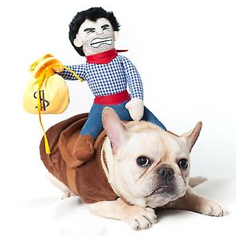 هالوين الحيوانات الأليفة زي الكلب الملابس الكرتون كاوبوي ركوب الخيل دعوى جرو حزب الزي