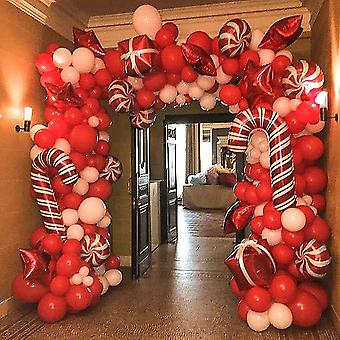 Christmas Balloon Garland Arch Kit 144 Pieces With Christmas Red White Candy Balloons