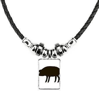 שרשרת תיאור של חיות חזיר שחור