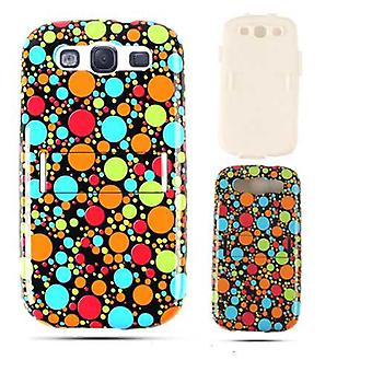 Unlimited Cellular Hybrid Fit On Jelly Case pour Samsung Galaxy S3 (Multi-Color Dots on Black)
