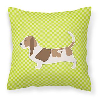 Bass Jakthund sjakkbrett grønne stoff Dekorative Pillow
