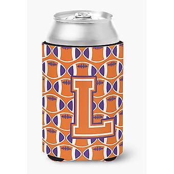 Letter L Football Orange, White and Regalia Can or Bottle Hugger