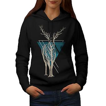 Natura dell'albero animale arte donne BlackHoodie | Wellcoda