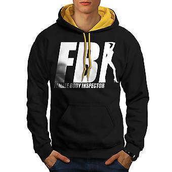 Offensive Joke Funny Men Black (Gold Hood)Contrast Hoodie | Wellcoda