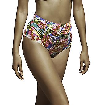 Susa 1855-156 vrouwen tropische blauwe bloemen badmode Beachwear hoog getailleerde broek Bikini Set