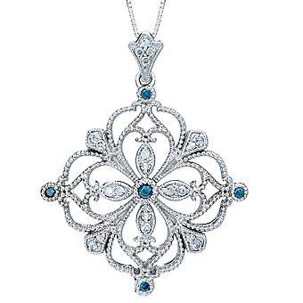 1 / 2ct sininen & valkoinen timantti filigraani Vintage Diamond riipus 14K valkokulta