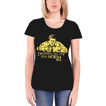 Cheers T Shirt Drinking All Day Is The Norm new Official Womens Skinny Fit Black