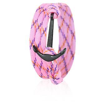 Patrón ancla pulsera pulsera nylon rosa a rayas con ancla negra 6653