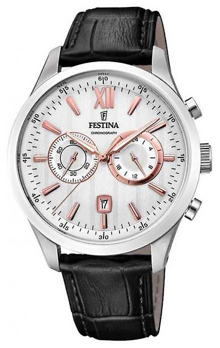 Festina Mens Chronograph Black Leather Strap Silver Dial F16996/1 Watch