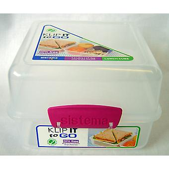 Sistema Klip It 1.4L Lunch Cube, Box, Clear with Pink Clips