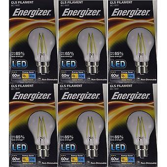 6 X Energizer 6.2W = 60W LED filamento GLS bombilla lámpara Vintage BC B22 bayoneta tapa [clase energética A +]