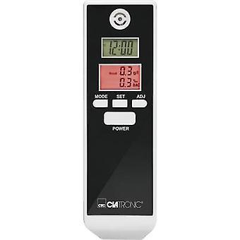 Clatronic på 3605 Breathalyser hvit, svart 0,0 til 1,9 ‰ inkl vise, valgbar SI enheter, klokke, Temperaturdisplay, nedtelling funksjon