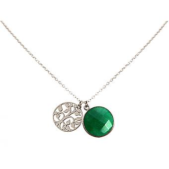 Pendentif de collier Gemshine LEBENSBAUM 925 vert émeraude argenté 45 cm