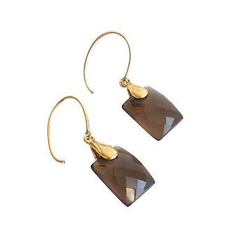 Smoky kvarts Guld belagte øreringe JANE perle sten smykker