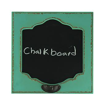 Distressed Blue Old Fashioned Wood Frame Wall Mount Chalkboard Sign