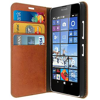 Zakelijke boek leergeval, stand case voor Nokia / Microsoft Lumia 640 - bruin