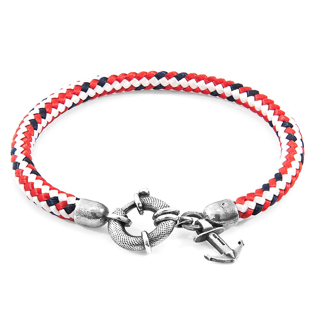 Anchor & Crew Red Dash Salcombe Silver and Rope Bracelet
