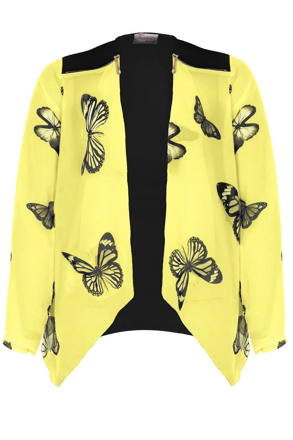 Ladies Butterfly Print Chiffon Sleeve Waterfall Zip Detail Open Front Top Kimono