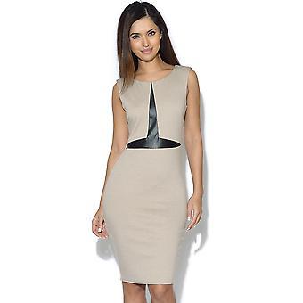 PU ausgestattet ärmelloses Kleid