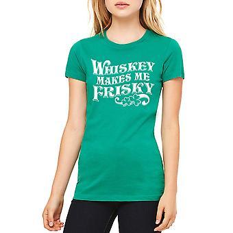 Humor Irish Whiskey Makes Me Frisky Clover Graphic Women's Kelly Green T-shirt