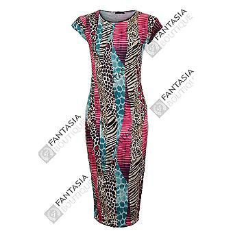 Nye damer Cap ærmet Tribal slange Print Midi Womens fund engang i løbet kjole