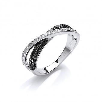 Cavendish Franse zilver en Cubic Zirconia Crossover Band Ring