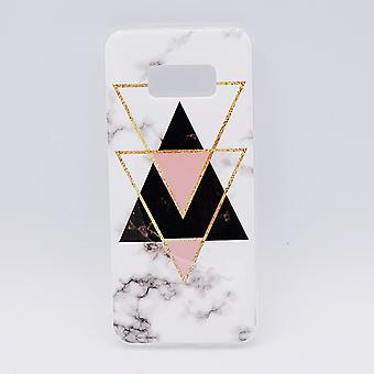 Samsung S8 Plus pouch-svart marmor trianglar & rosa