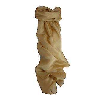 Mão de seda amoreira tingiu-se cachecol longo Latte de Pashmina & seda