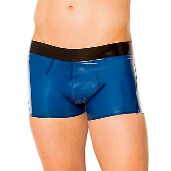 Skin Two Clothing Men's Shorts in Electric Blue Rubber Black Waist Band