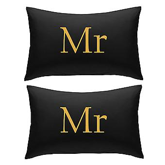 Black with Gold Mr and Mr Pillowcases