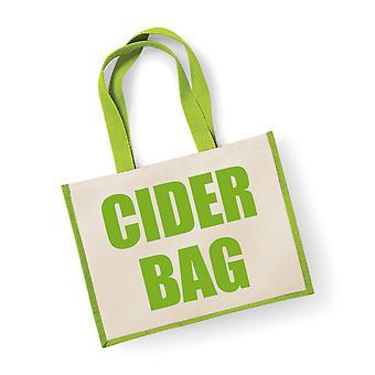 Large Green Jute Bag Cider Bag
