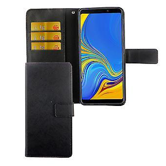 Samsung Galaxy A7 2018 Tasche Handy Hülle Schutz-Cover Flip-Case mit Kartenfach  Schwarz