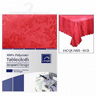 60X90Inches Rectangle Polyester Table Cloth Cover Red Jacquard Design