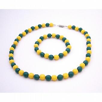 Brazil Jewelry Yellow & Green Pride Jewelry Necklace & Bracelet