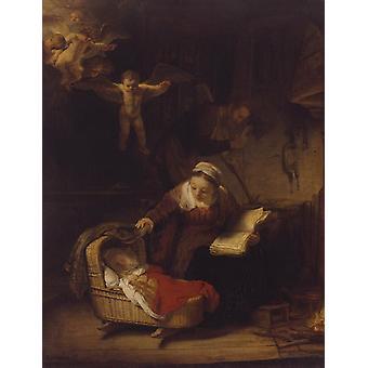 La Sainte Famille avec des Anges, Rembrandt, 50x38cm