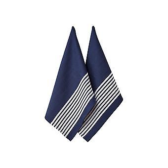 Ladelle Set of 2 Butcher Stripe Series II Navy Tea Towels
