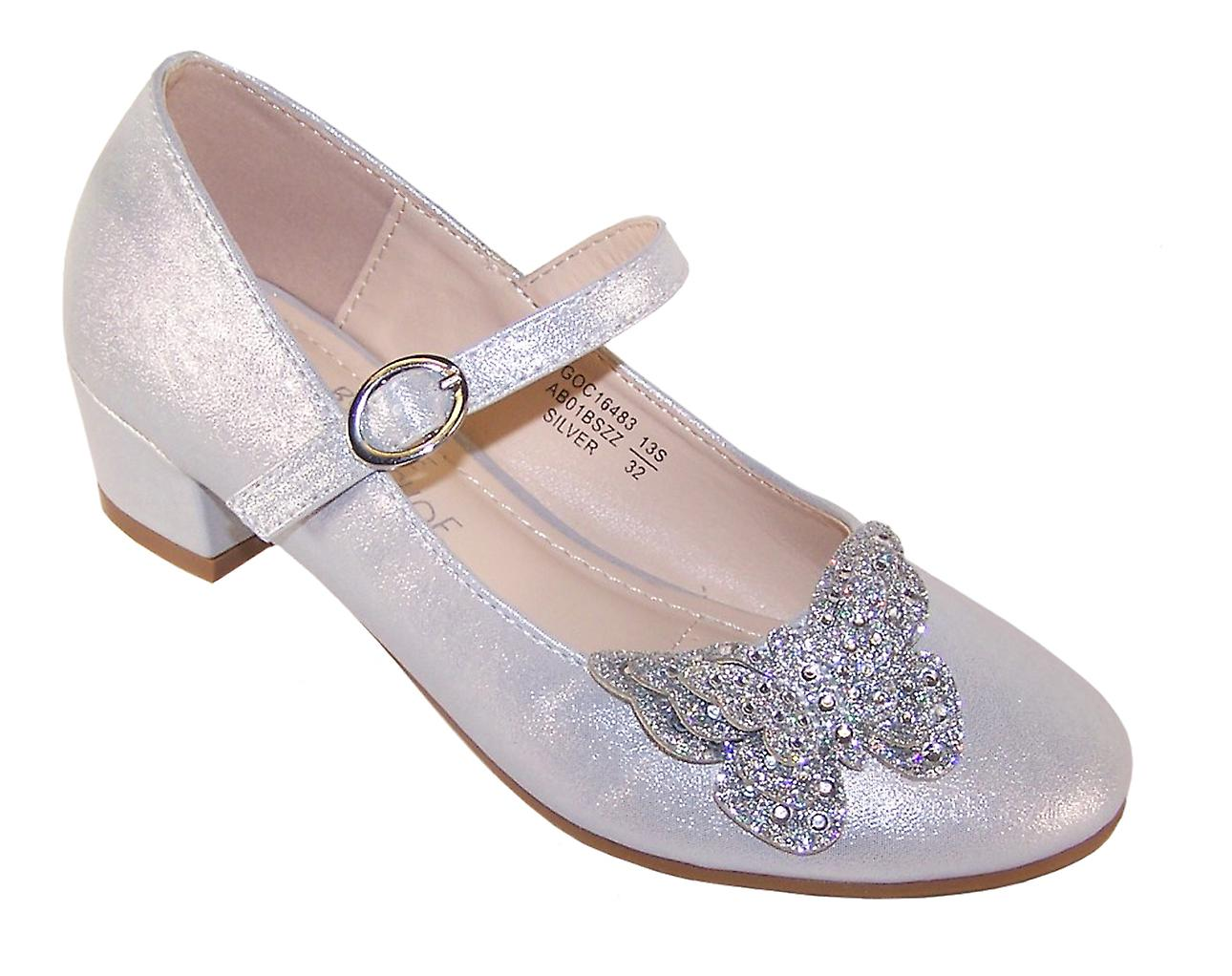 Girls silver heeled bridesmaid shoes with glitter butterfly