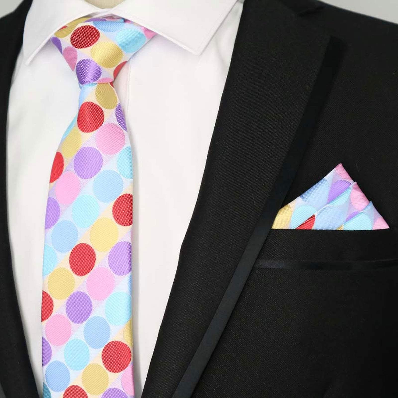 Yellow pink blue & purple polka dot tie & pocket square