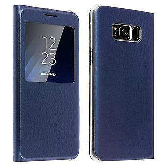 Smart view window flip case for Samsung Galaxy S8, slim cover - Dark blue