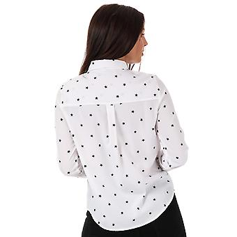 Womens Vero Moda Nicky Star Midi Shirt In Snow White / Black