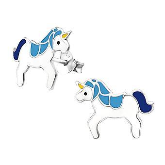 Sterling Silver Unicorn Studded Earrings