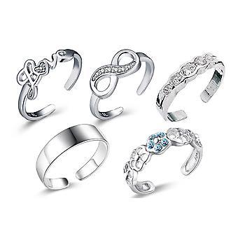 Sreema London 925 Sterling Silver Set Of 5 Toe Rings