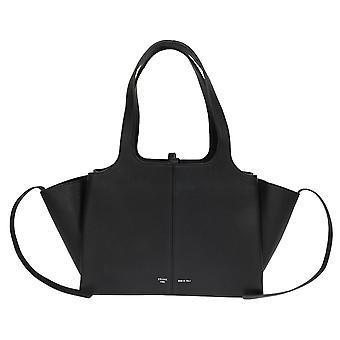 Celine Tri-Fold Umhängetasche | Schwarz Leder genarbt